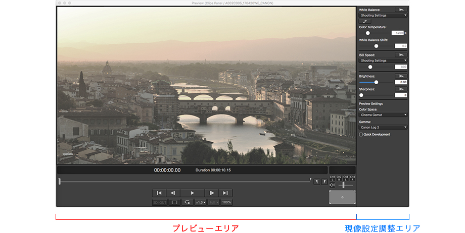 画面:Canon Cinema RAW Development